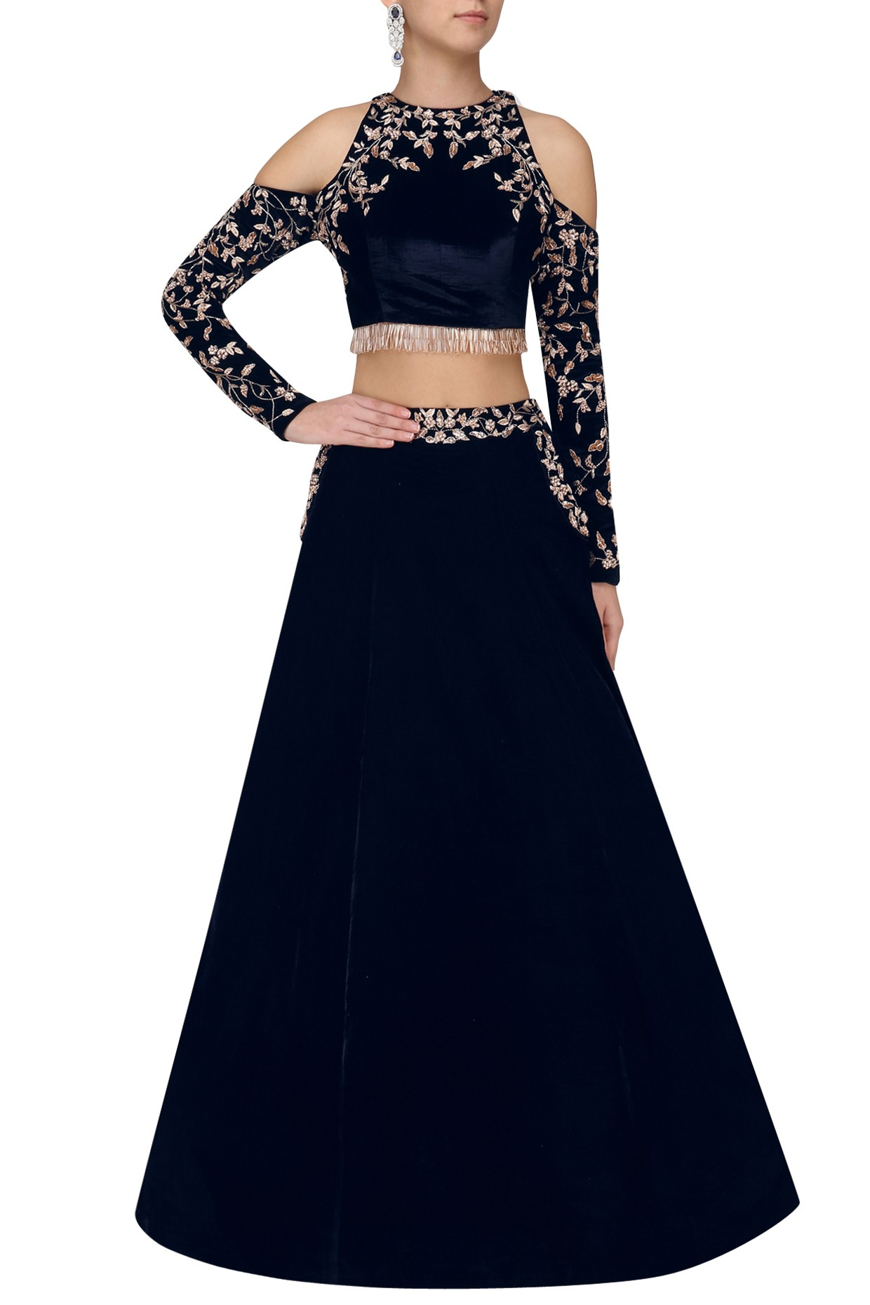 Blue Velvet Cold Shoulder Crop Top And Skirt Pink Peacock Couture